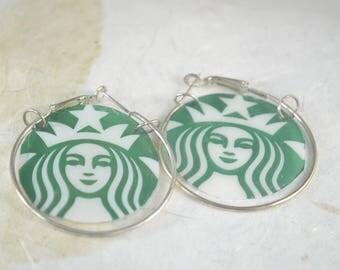 """Upcycled STARBUCKS Earrings - Starbucks Big Hoop Earrings - Silver Plated 1 1/2"""" Hoops"""