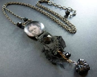 Daughter ~  sentimental necklace with tattered ribbon and antique black glass ~ shabby victorian mourning gothic OOAK