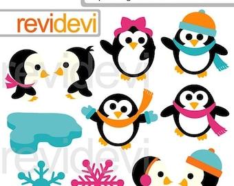35% OFF SALE Penguin clipart - Cute winter cliparts - Joyful penguins digital cliparts - instant download - commercial use