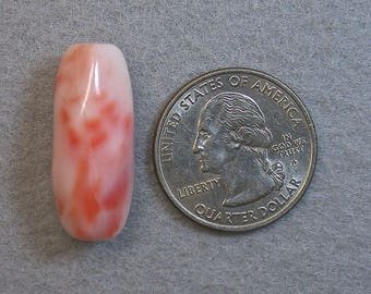 Vintage Pink ANGEL SKIN CORAL Barrel Bead, 27x13mm 5.8 grams cor11