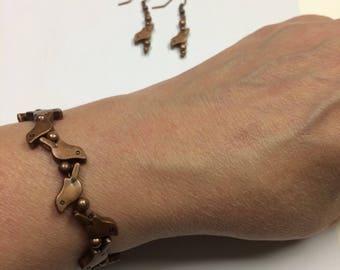 Copper bird bracelet memory wire  & matching earrings