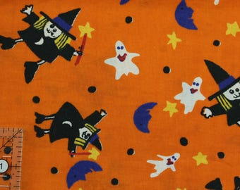 """Halloween witches and ghosts 44-45"""" wide 100% cotton"""