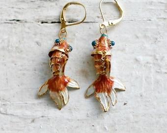 Orange Cloisonné  Fish Earrings