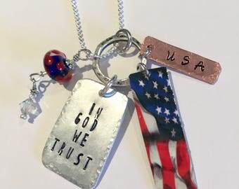 USA July 4th Necklace Love custom necklace Copper aluminum brass meyal hand cut and stamped metal work just plain Jane Totally Hammered