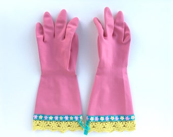 Designer Cleaning Gloves. Size Medium or Large. Latex Dish Gloves. Kitchen Dishwashing Rubber Gloves.
