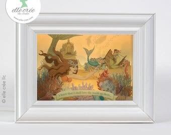 Little Mermaid shadowbox nightlight diorama (light & dark skin tones available)