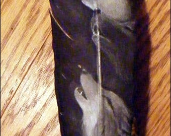 13 1/5 in. Hand Painted Turkey Wing Feather - Wolf Trio