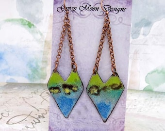 Bohemian earrings Hipster Earrings Rustic Enamel Jewelry Tribal Earrings  Dangle Drop
