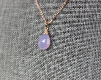 Lilac Chalcedony Rose Gold Necklace