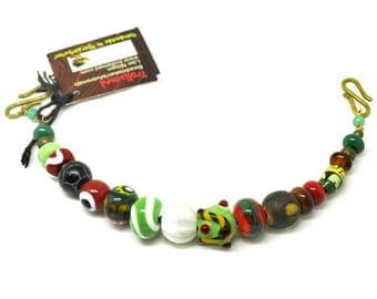 Handmade glass beads, green/red and white bead row finished necklace for apron dress