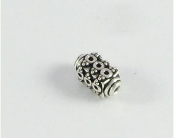 SHOP SALE Bali Sterling Silver Rectangle Beads with 3 Circles and Dots Design, Focal Beads, Earring Beads (2 beads)