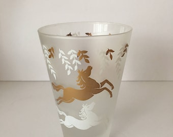 Libbey Cavalcade Horse Mid Century Barware Cooler High Ball Glass Gold White Frosted Tapered Whiskey