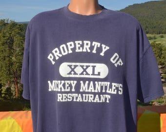 vintage 90s t-shirt MICKEY MANTLE restaurant new york yankees ny baseball tee XXL xl
