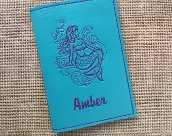 Mermaid Passport Cover for Women - Turquoise Faux Leather Passport Holder - Mermaid Motif Passport Cover with Name - Travel Gift for Her