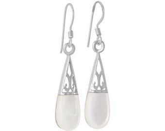 Sterling Silver Mother Of Pearl Oval Teardrop Earrings