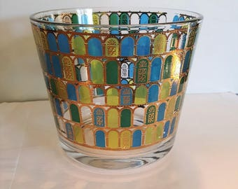 Mid Century Glass Ice Bucket Gold, Blue and Green