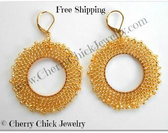 Seed Bead Hoop Earrings - Gold Beaded Hoop Earrings - Seed Bead Earrings - Beadwork Earrings - Statement Earrings - Free Shipping