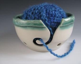 Ceramic Yarn Bowl, Pottery Knitting Bowl, Celadon Green and White, Leafy Rim