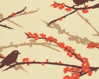 HALF YARD - Joel Dewberry, Aviary 2 Collection, Sparrows in Bark, Brown, Orange, Branches, cotton quilting fabric -  SALE