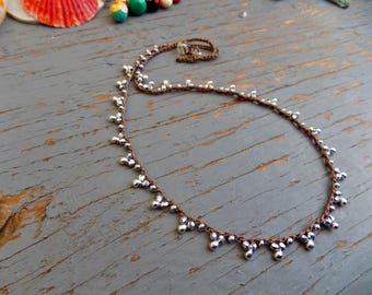 Crocheted silver, sterling silver Lace necklace
