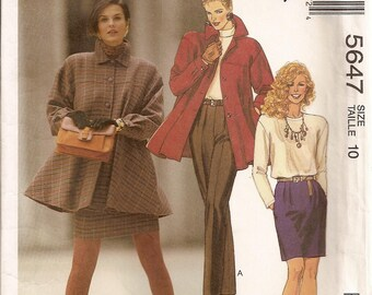 McCalls 5647, Sewing Pattern, Misses Jacket, Unlined Jacket, Top, Skirt, Pants, Suit, Vintage Clothing, Wardrobe, Size 10, Sewing Supplies,