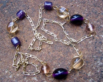 Eco-Friendly Statement Necklace - Catharsis - Recycled Vintage Chain and Beads in Deep Purple and Pale Gold