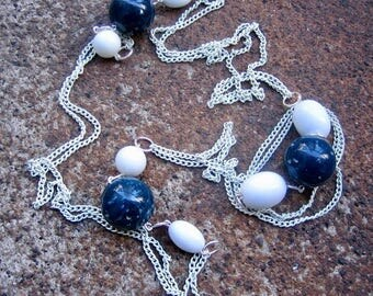 Eco-Friendly Long Statement Necklace - Sail Away - Recycled Vintage Enamel Chain and Beads in Navy Blue and White