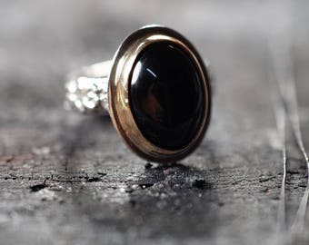 Black Onyx Ring Protection Ring Mixed Metals Size 7 Ready to Ship Gold Silver Ring Onyx Jewelry Handmade Sterling Silver Ring