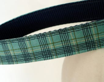 Plaid Dog Collar - Large Dog Collar - 1 Inch Wide - Adjustable Between 15-23 Inches - Blue Plaid - Boy Dog Collar - READY TO SHIP