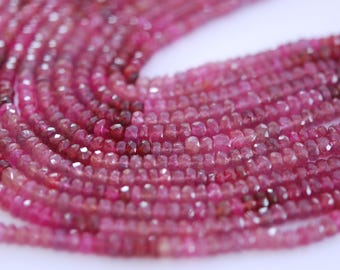 1/2 Strand pink ruby faceted roundelles