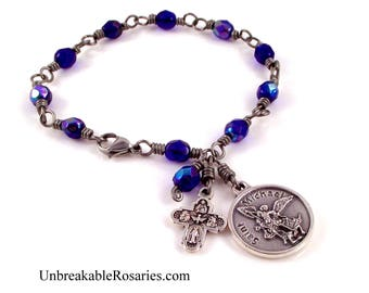 St Michael Police Badge Rosary Bracelet AB Cobalt Blue Czech Glass Stainless Steel Wire by Unbreakable Rosaries
