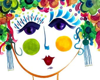 Meet Autumn! A Gypsy Garden Girl - Carmen Miranda Inspired Face - Print from Original Watercolor Painting by Suzanne MacCrone Rogers