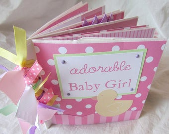 Mini Album BABY GIRL -- 6x6 Premade Scrapbook PaPeR BaG book -- YoU PiCK, choose paper collection - baby shower gift, baby girl's 1st year