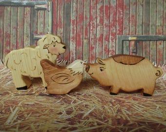 Three little Farm Animals - Pig, Sheep and Chicken,  Waldorf Wood Toys, Kids gift set