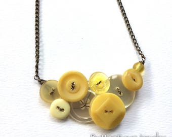 Lovely Pale and Mustard Yellow Vintage Button Statement Necklace