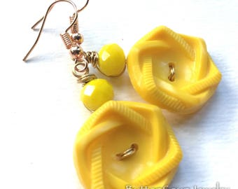 Bright Yellow Flower Vintage Button Earrings