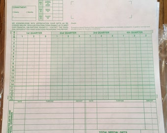 Vintage Carbon Copy Quarterly Report of Giving Forms Church Income Tax Reference Forms