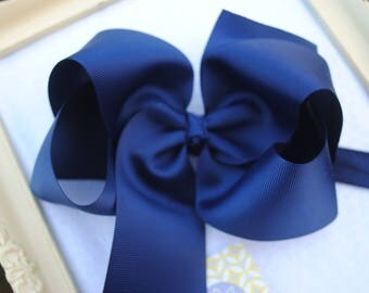 "Navy Blue Bow on Headband - Soft Headband - Navy Headband for Girls - 4"" Large Hairbow - Baby Bow with Matching Headband - Nautical Hair Bow"