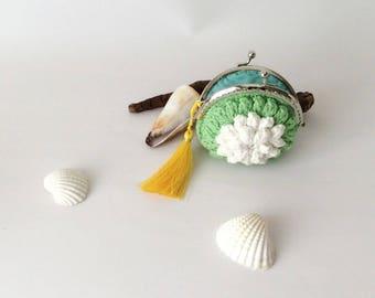 Green Wallet, Flower Pouch Crocheted Purse Hands