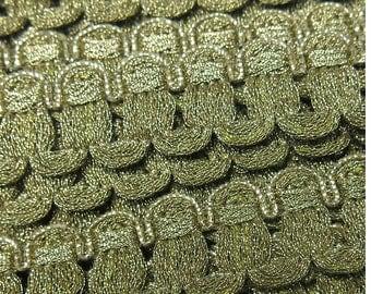 "Vintage Metallic French Gimp Trim, Passementerie Yardage, Antique Gold Patina Metal Braid, 7/8"" wide"