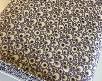 Halloween fabric, Hocus Pocus, Fabric Shoppe fabrics, Moda fabrics, Halloween Eyes in purple Choose the cut