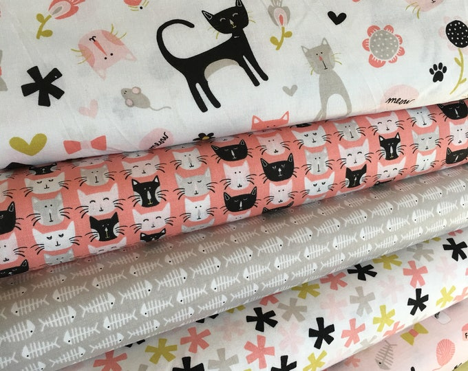 Cat Fabric, Cat Lady fabric, Gift for Pet, Pet Lover, Cat Lover, Meow by Riley Blake, Fabric Bundle of 6- Choose the Cut