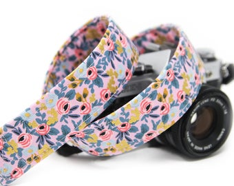 Floral Camera Strap, Rifle Paper Co,  Rosa in Violet