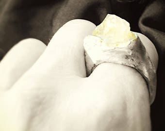 the name of the rose hand sculpted fairy wood silver ring with rough golden rosequartz size 7 1/2