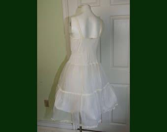 Vintage 1960's Girl's Woman's White Nylon Slip with Underskirt