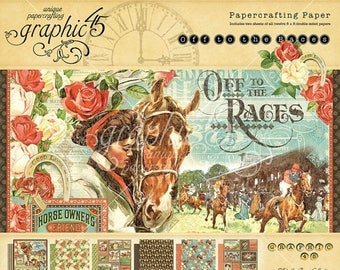 NOW ON SALE Graphic 45 Off to the Races 8x8 Paper Pad