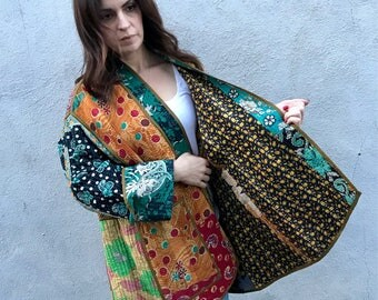 One of a kind reversible plus size kantha quilt jacket