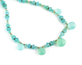 Blue Chalcedony Necklace - Aqua Blue - Chalcedony Necklace - Briolettes and Rondelles