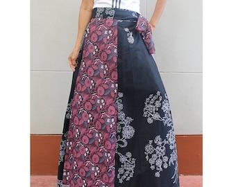 Handmade 8 Pieces floral Thai batik Sarong patchwork long comfortable  wear wrap skirt fit all size (BT 10)
