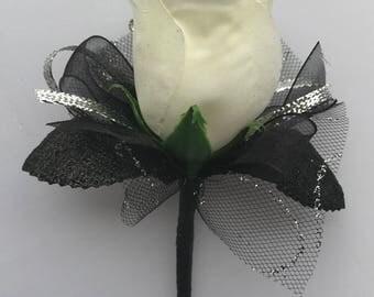 Ivory Silk Rose Boutonnière